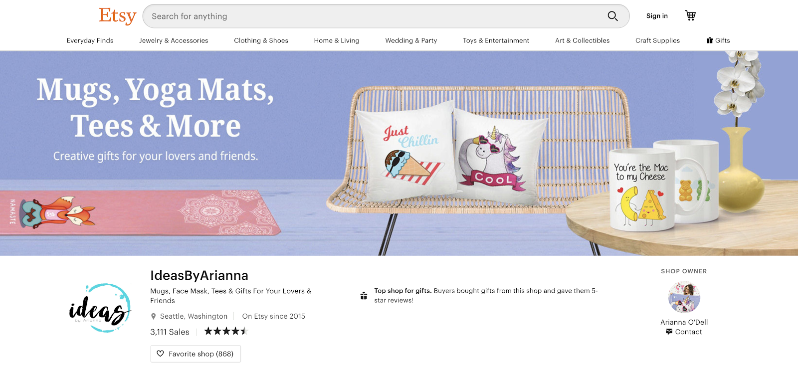 Etsy eCommerce Store Example