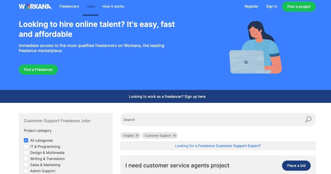 Workana Screenshot (Freelance Jobs in Customer Support)