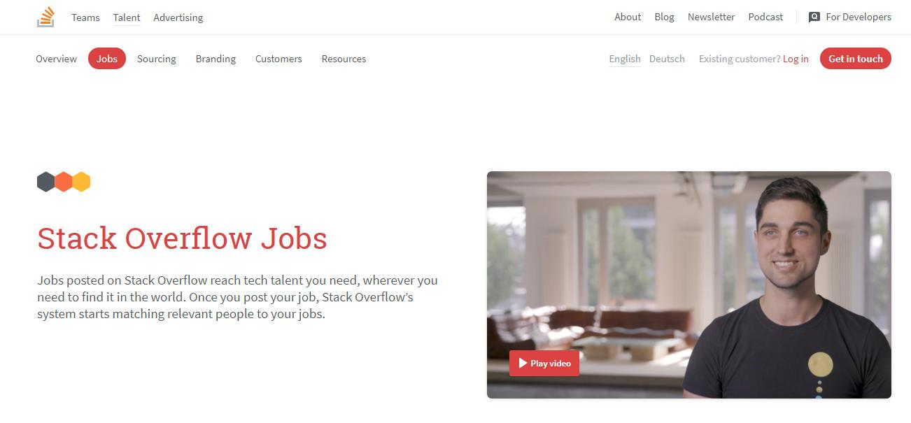 Stack Overflow Jobs (for WordPress Developers) Homepage Screenshot