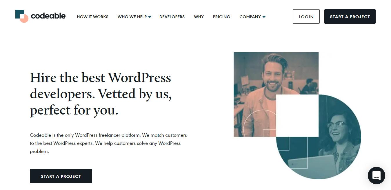 WordPress Developer Jobs Sites (Codeable Homepage Screenshot) Example
