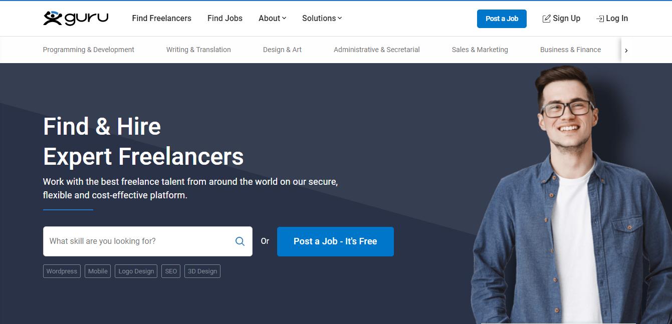 Guru Homepage Screenshot (for Expert Freelance WordPress Developer Jobs)