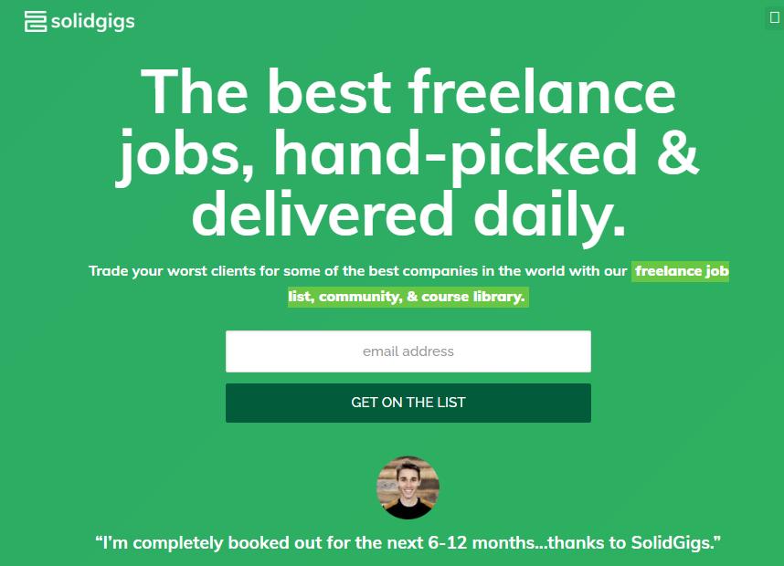 SolidGigs WordPress Developer Jobs Sites (Screenshot) for Freelancers