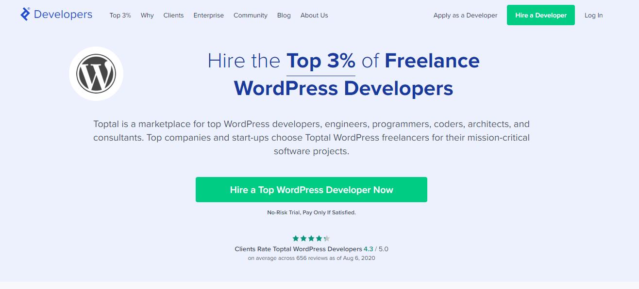 TopTal for Freelance WordPress Developer Jobs (Website) Screenshot