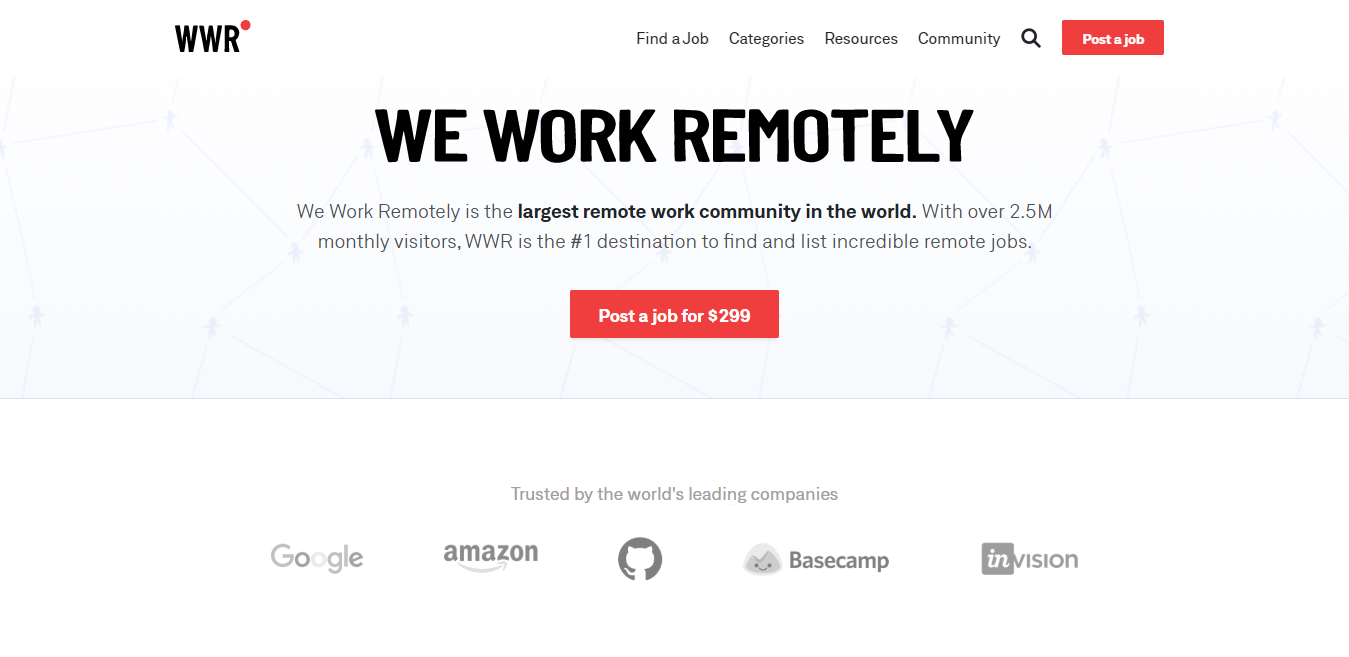 We Work Remotely Homepage Screenshot