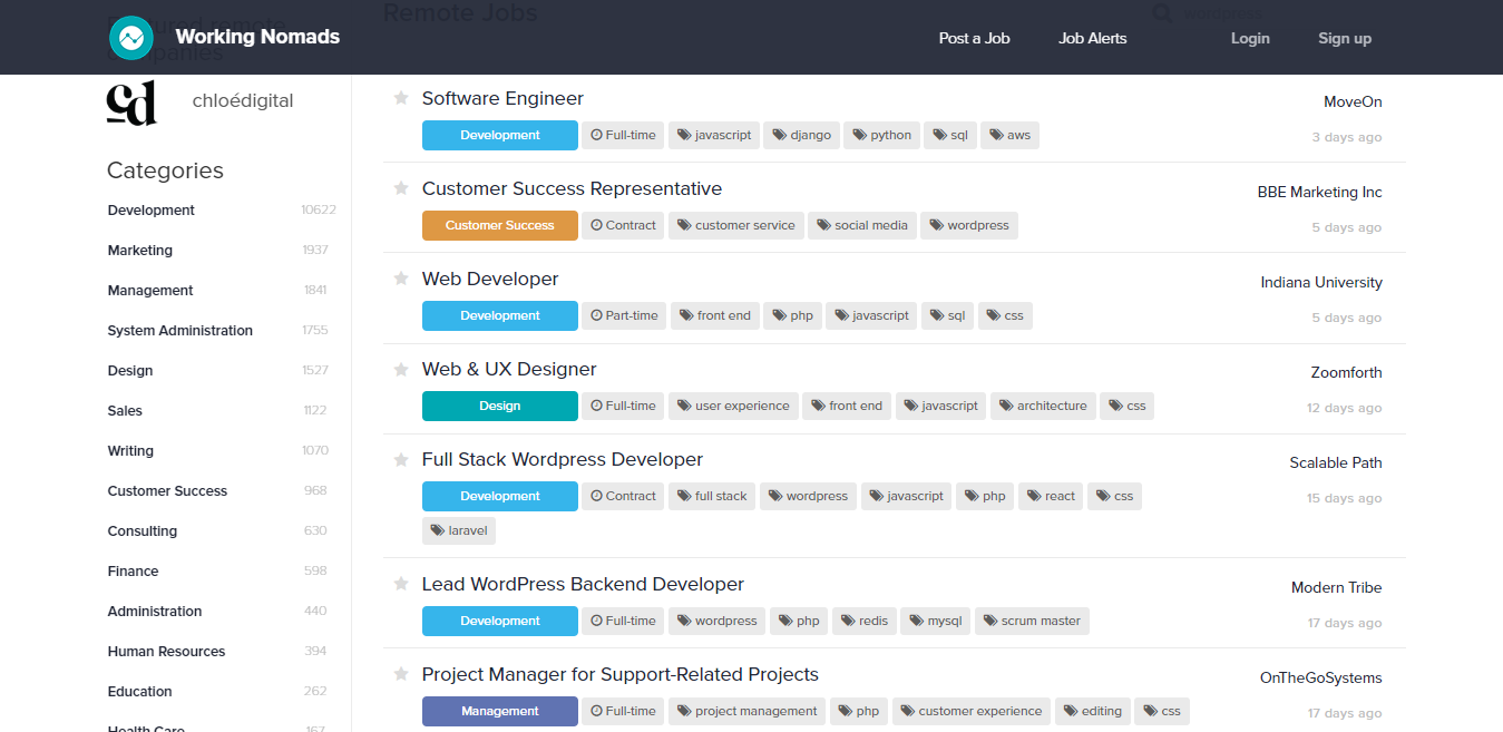 Screenshot of Available and New Job Postings on Working Nomads