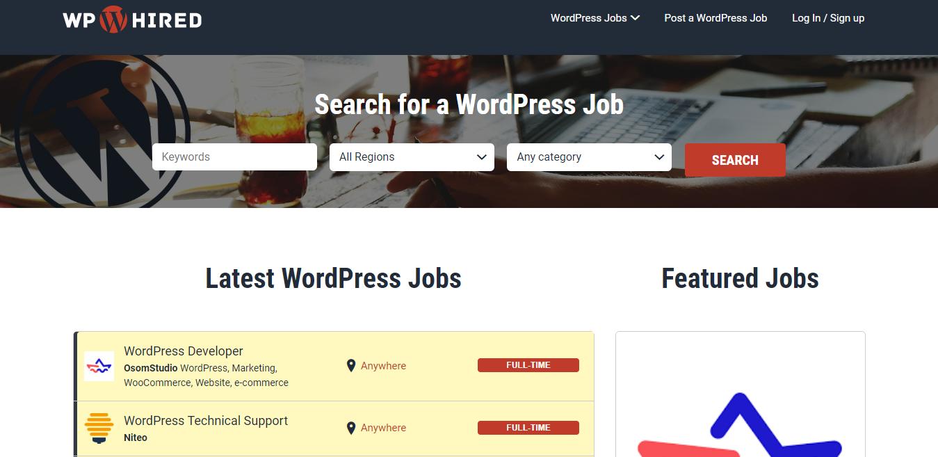 WPhired Screenshot of Developer Jobs in WordPress (Examples)
