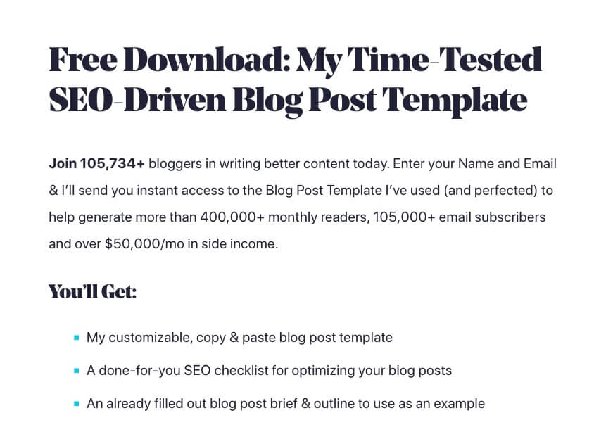 Example of a Lead Magnet in Blog Marketing (Screenshot)