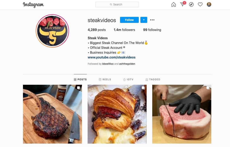 Instagram Account Example (Steak Videos Screenshot)