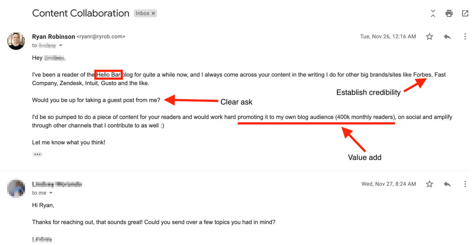 Screenshot Example of a Guest Blogging Outreach Email