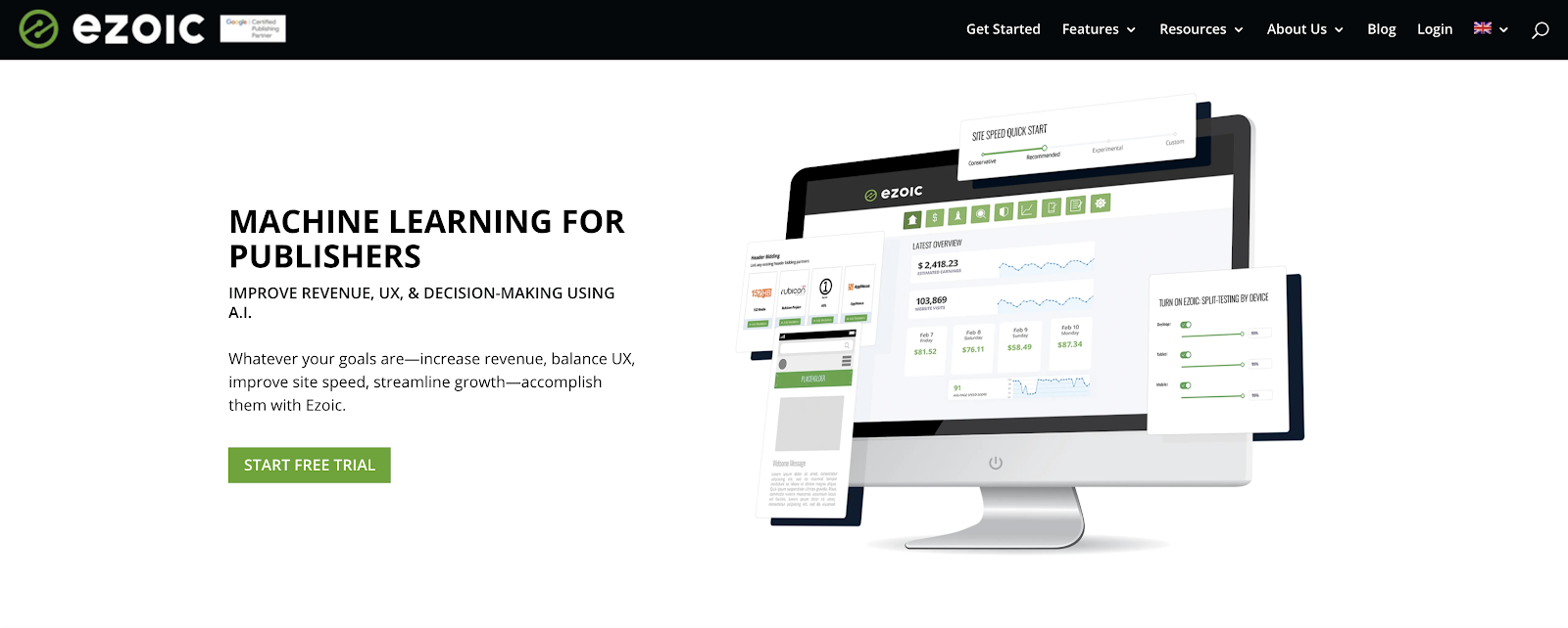 Ezoic Homepage Screenshot (to Display Blog Advertisements)