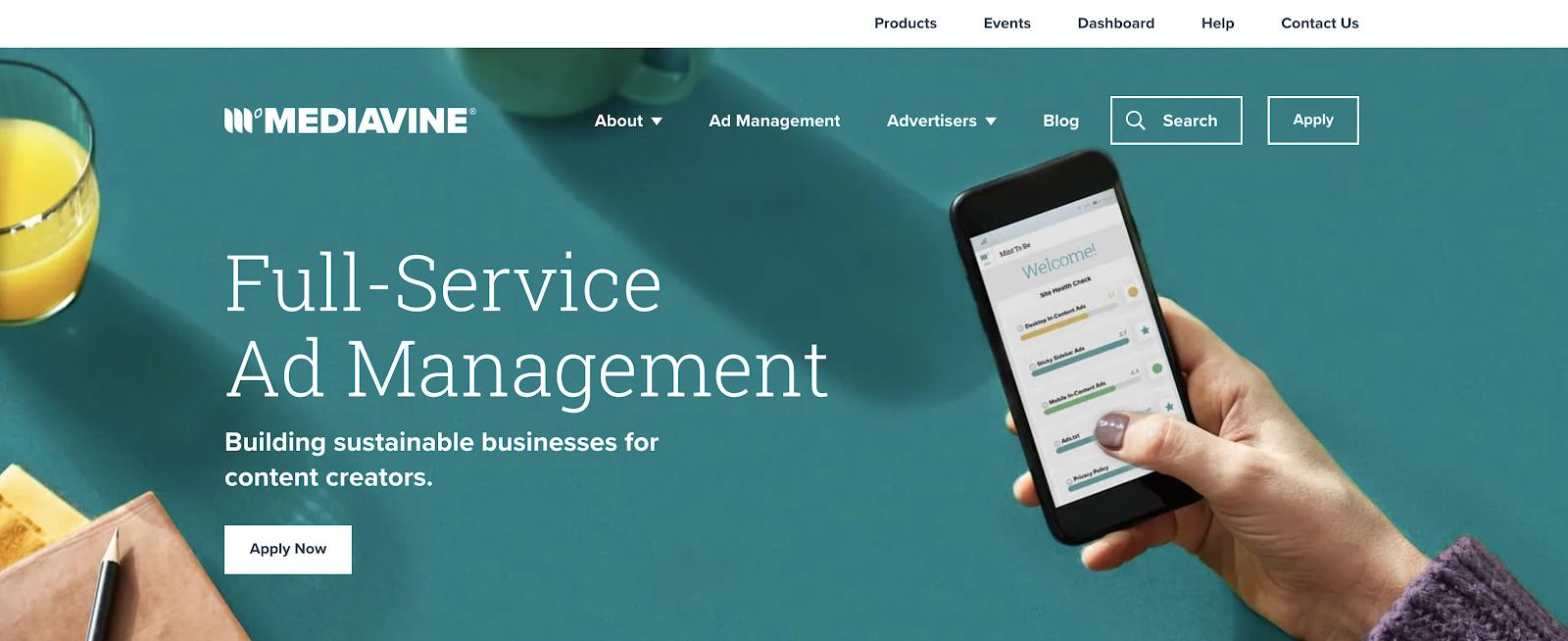 Mediavine Blog Advertising Network (Homepage Screenshot)