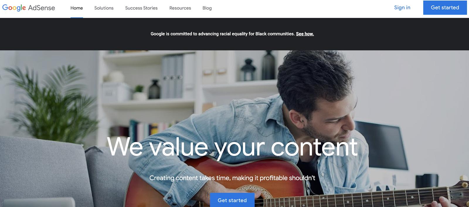 Google AdSense Sign up Page (Screenshot)