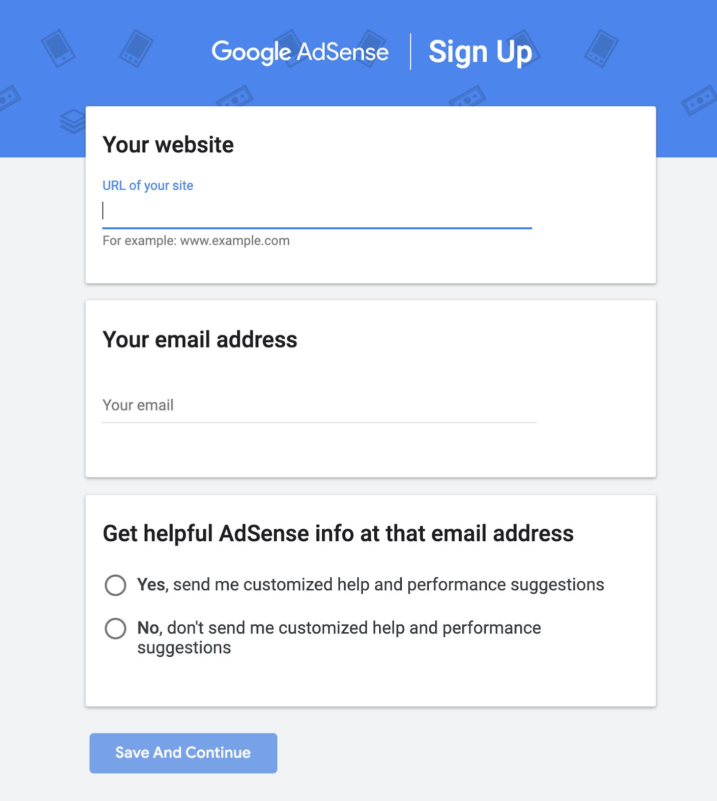 Screenshot of Sign up Form for Google AdSense Network