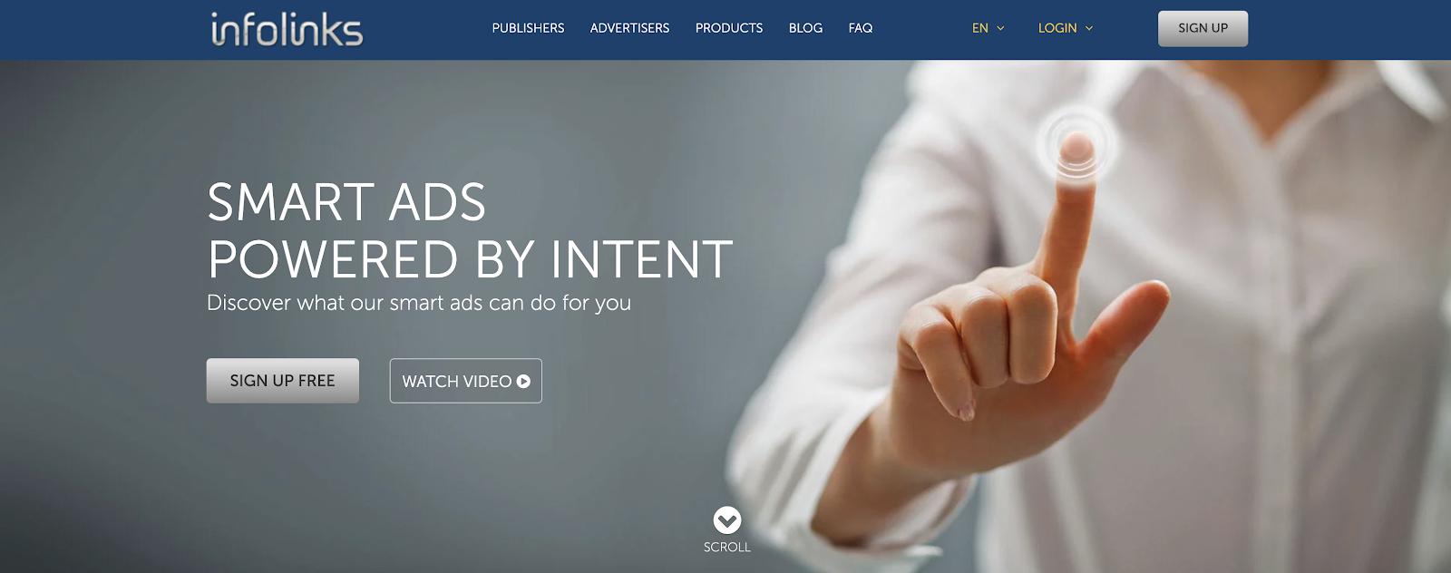 Infolinks Blog Advertising Network Homepage Screenshot