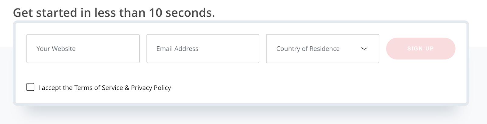 Media.net Sign up Process (Screenshot)