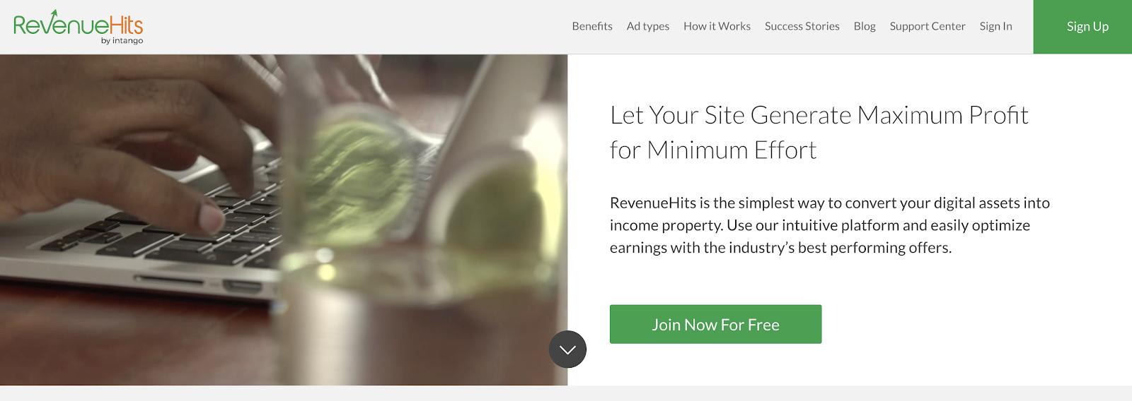 RevenueHits Blog Ad Network (Homepage Screenshot)