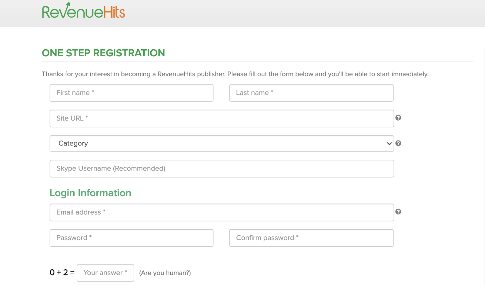 Registration Process for RevenueHits