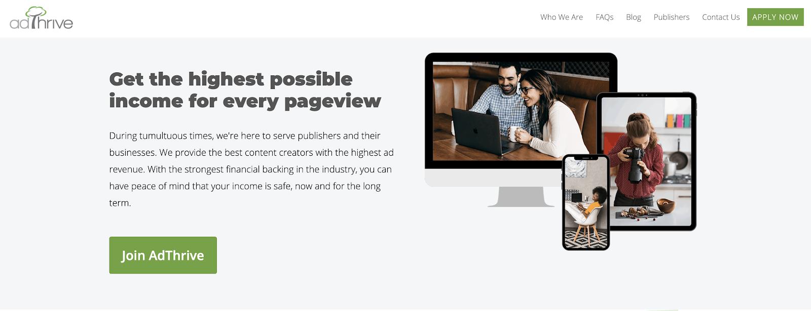 AdThrive Blog Ads Network (Homepage Screenshot)