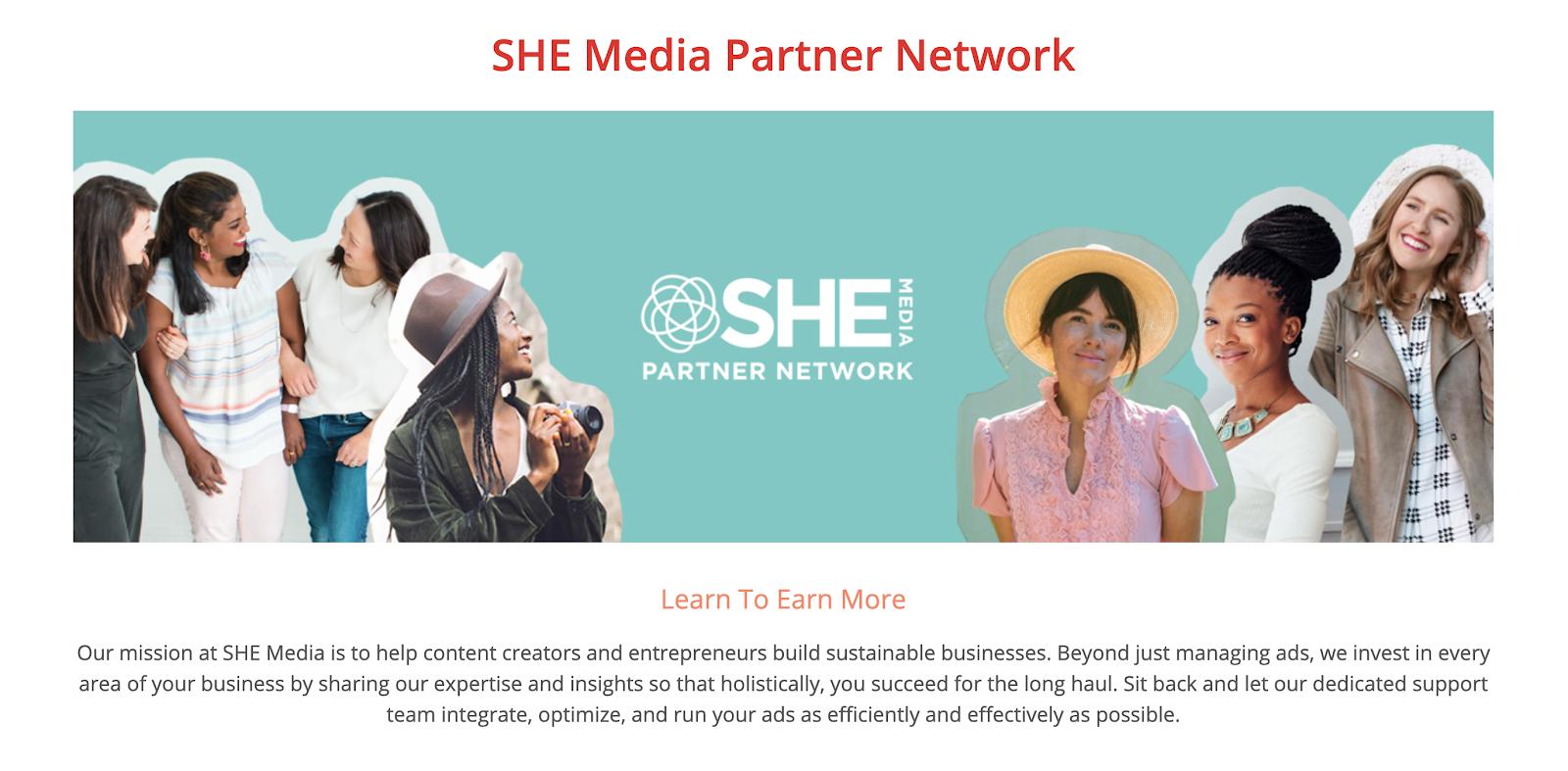 SHE Media Blog Advertising Network for Women (Screenshot)